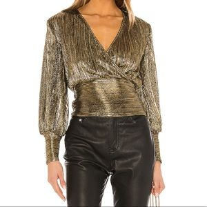 Bardot gold blouse
